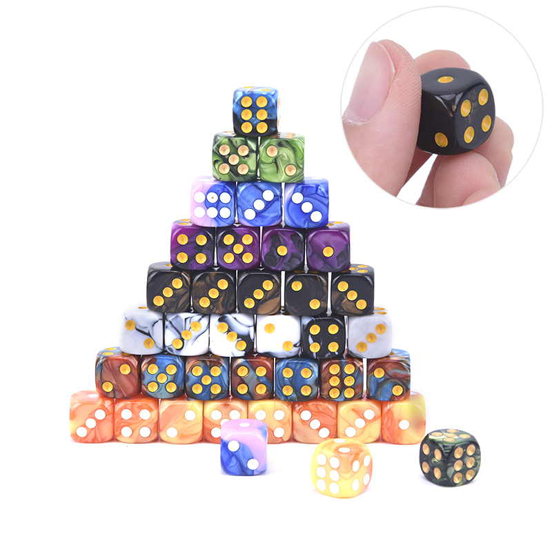 10pcs Six Sided 12mm Acrylic Transparent Cube Round Corner Portable Table Playing Games Drinking Dice