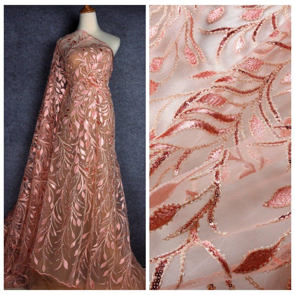 La Belleza 2019 new fashion design lace fabric peach purple off white green beaded sequin lace
