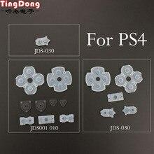 4 PS4 TingDong 100 conjunto para Sony Playstation Controlador Condutora de Borracha de Silicone Pads para Dualshock 4 Botões Reparação Replacemen