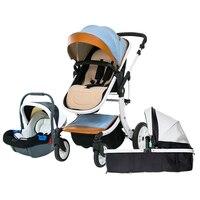 Бесплатная доставка babyfond детская Роскошная коляска 3 в 1 модный транспортный Европейский костюм для менти и сиденья