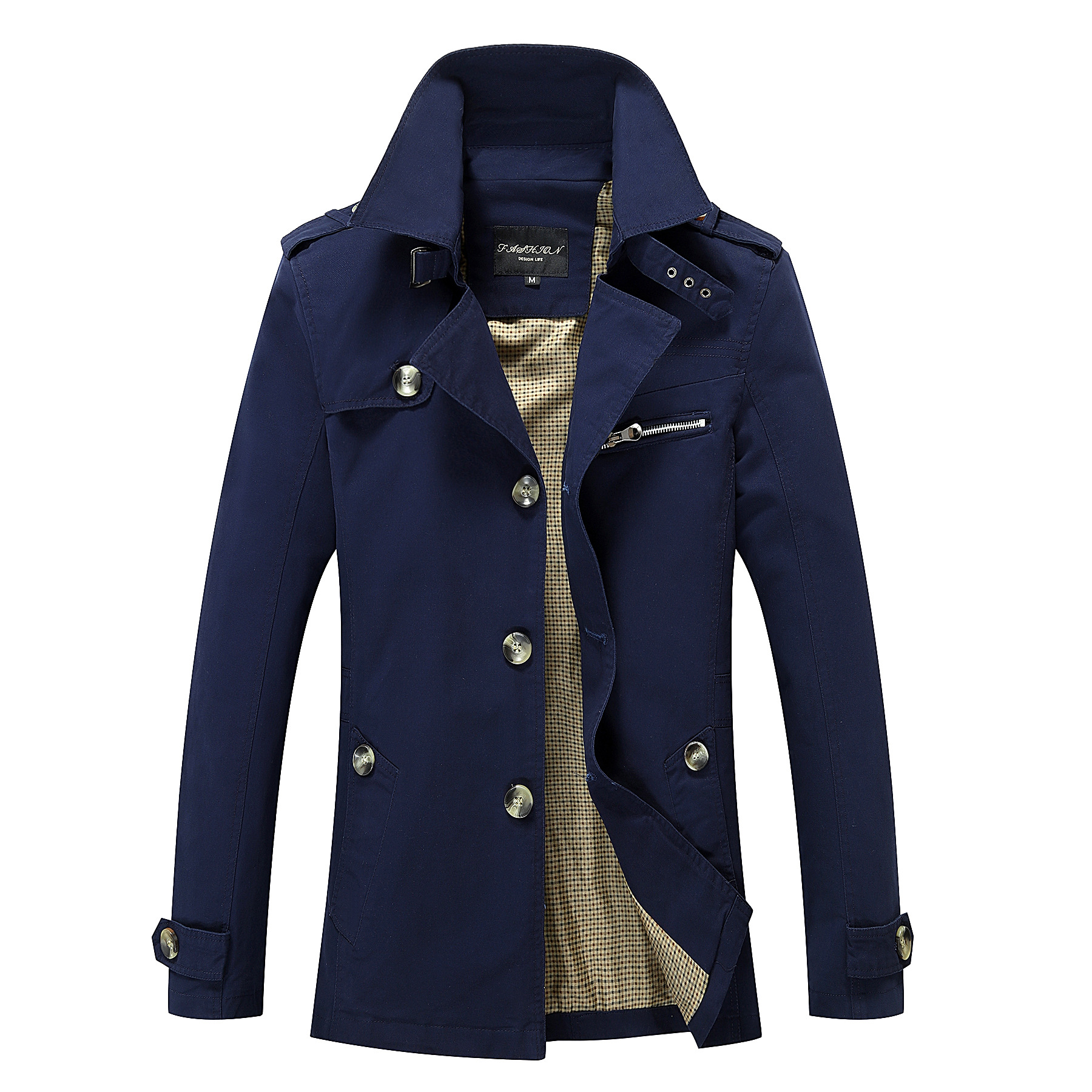 Spring Autumn Solid Casual Men Jackets Coat Long Sleeve Turn Down Collar Trenchcoat Plus Size M-5XL Slim Trench Men's Jacket