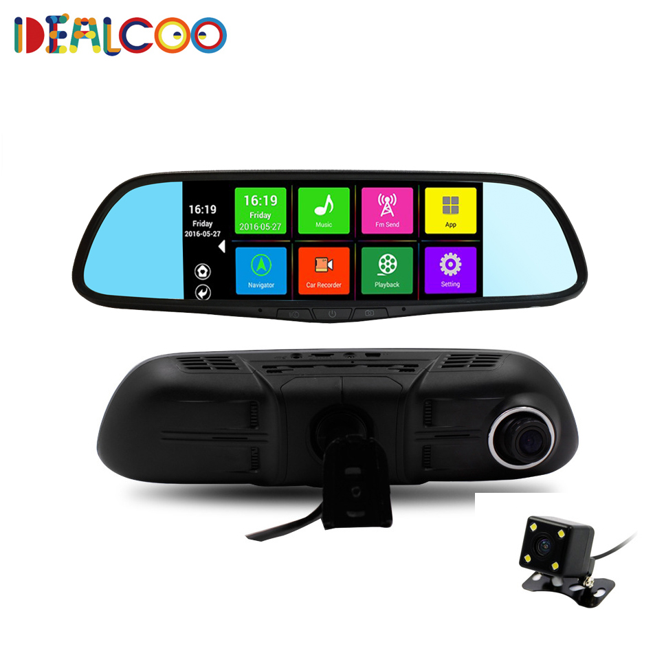 7 inch Dual Lens Car DVR Rearview Mirror Camera font b GPS b font Android 4