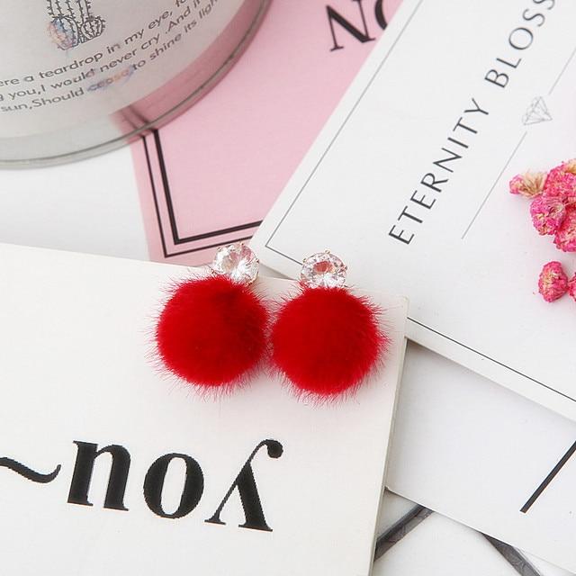 Most Popular Plush Ball Earrings Velvet Ball With Crystal Earrings For Women Cute Lovely Korean Earrings Brinco Accessory E0358