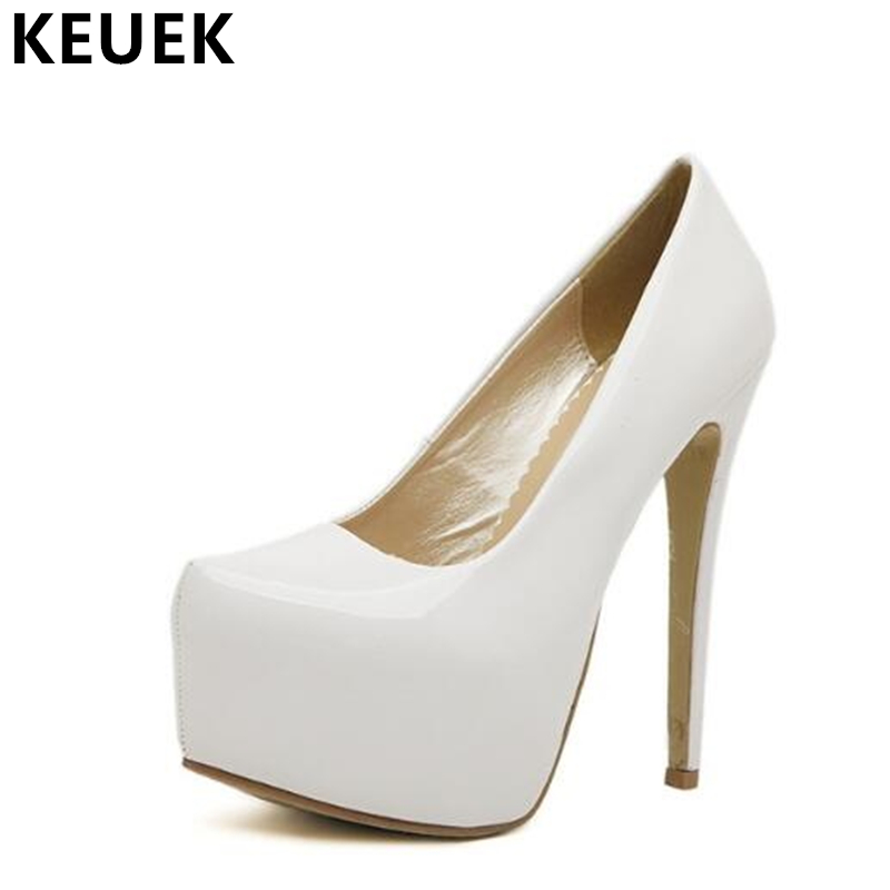 Women Pumps Fashion Elegant Lady Wedding shoes High Heels Pointed Toe Platform shoes Thin Heels Party High-heeled shoes 02C 2017 spring fashion 9 cm pointed toe high heeled shoes metal pearl decoration thin heels patent leather wedding party shoes