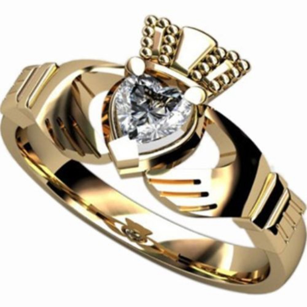 Lady's Size 5 6 7 8 9 10 Gold Pstainless Steel Heart Wedding Engagement  Irish Claddagh