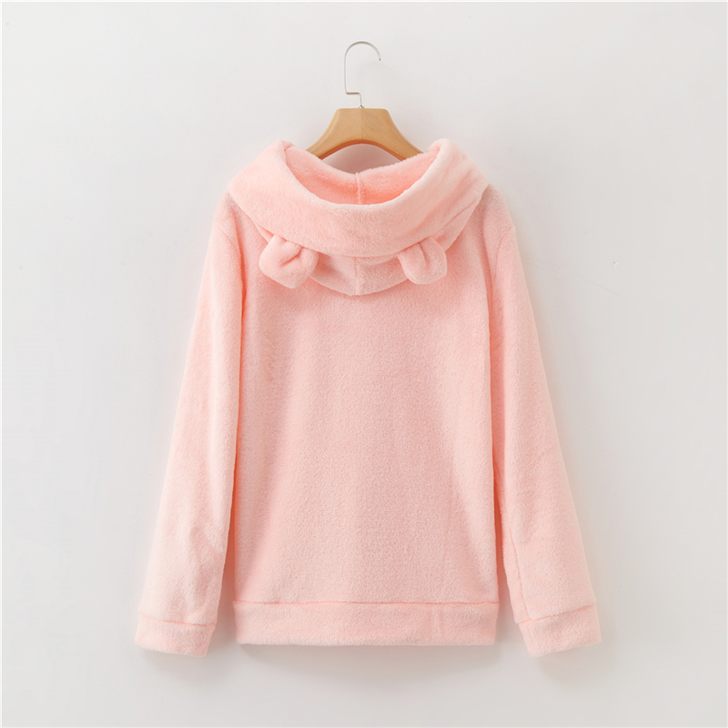 Women's Flannel Hoodies Sweatshirts Lovely With Bears Ears Solid Warm Hoodie Autumn Winter Casual Campus Pullovers Coat 13
