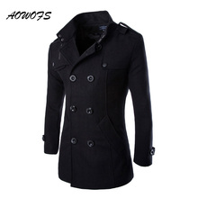 AOWOFS Winter Men Wool Pea Coats Black Mens Overcoat Short Trench Coats Male Double Breasted Pea Coat High Quality Wool Clothing(China)