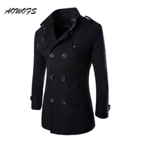 2016 Winter Fashion Mens Wool Pea Coats Black Grey Short Woolen Coats Fitted Trench Style Overcoat