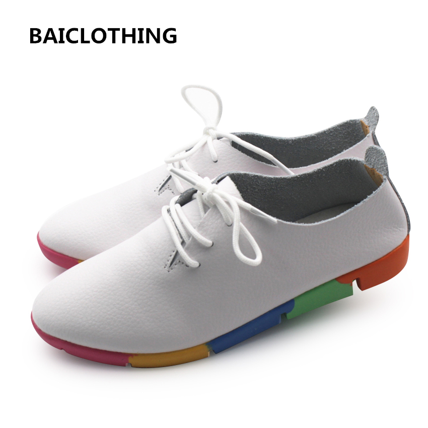 BAICLOTHING female genuine leather lace up shoes women casual white shoes lady soft comfortable leisure shoes zapatos de mujer hot sale genuine leather shoes women soft comfortable lace up zapatos mujer high quality fashion oxfords pigskin women s shoes