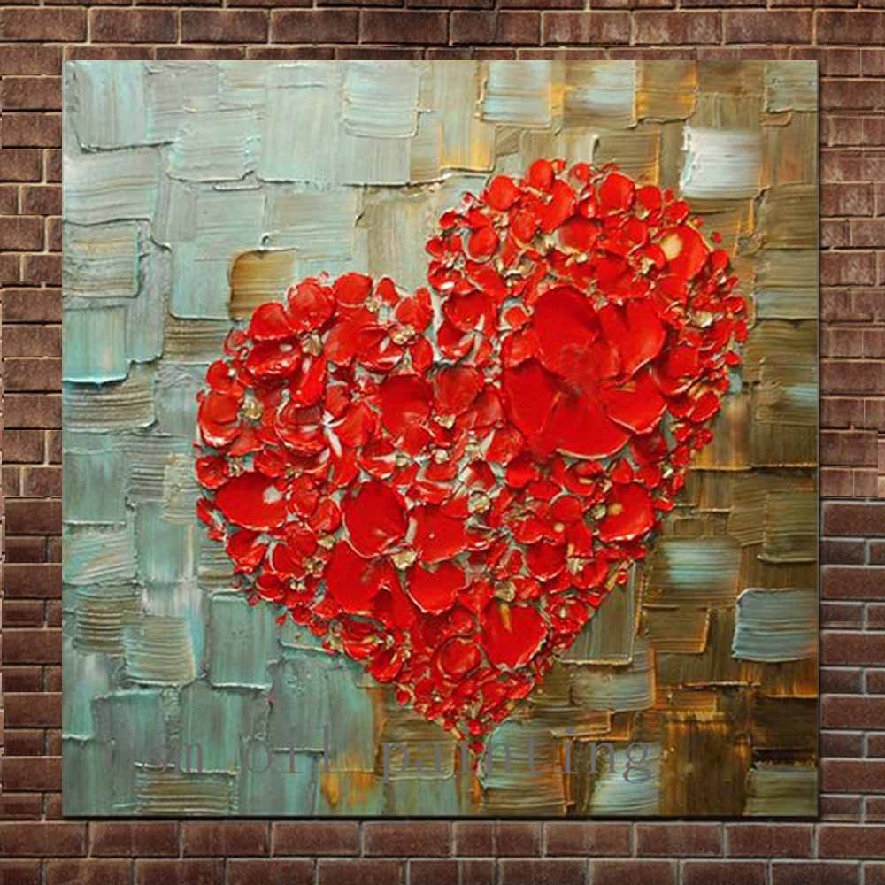 Us 42 75 Handmade Abstract Art Thick Impasto Palette Knife Oil Canvas Painting Red Heart Shaped Wall Picture Living Room Home Wall Decor In Painting