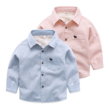 2016 autumn and winter boys and girls Baby shirt with velvet child stripe shirt thickening big children's clothing top