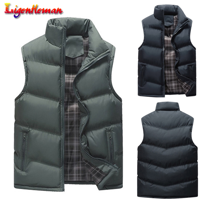 Sleeveless Men's Vests Spring Autumn Men Coats Army Khaki Solid Casual Vest Male Waistcoats Jackets Stand Collar Plus Size 4XL