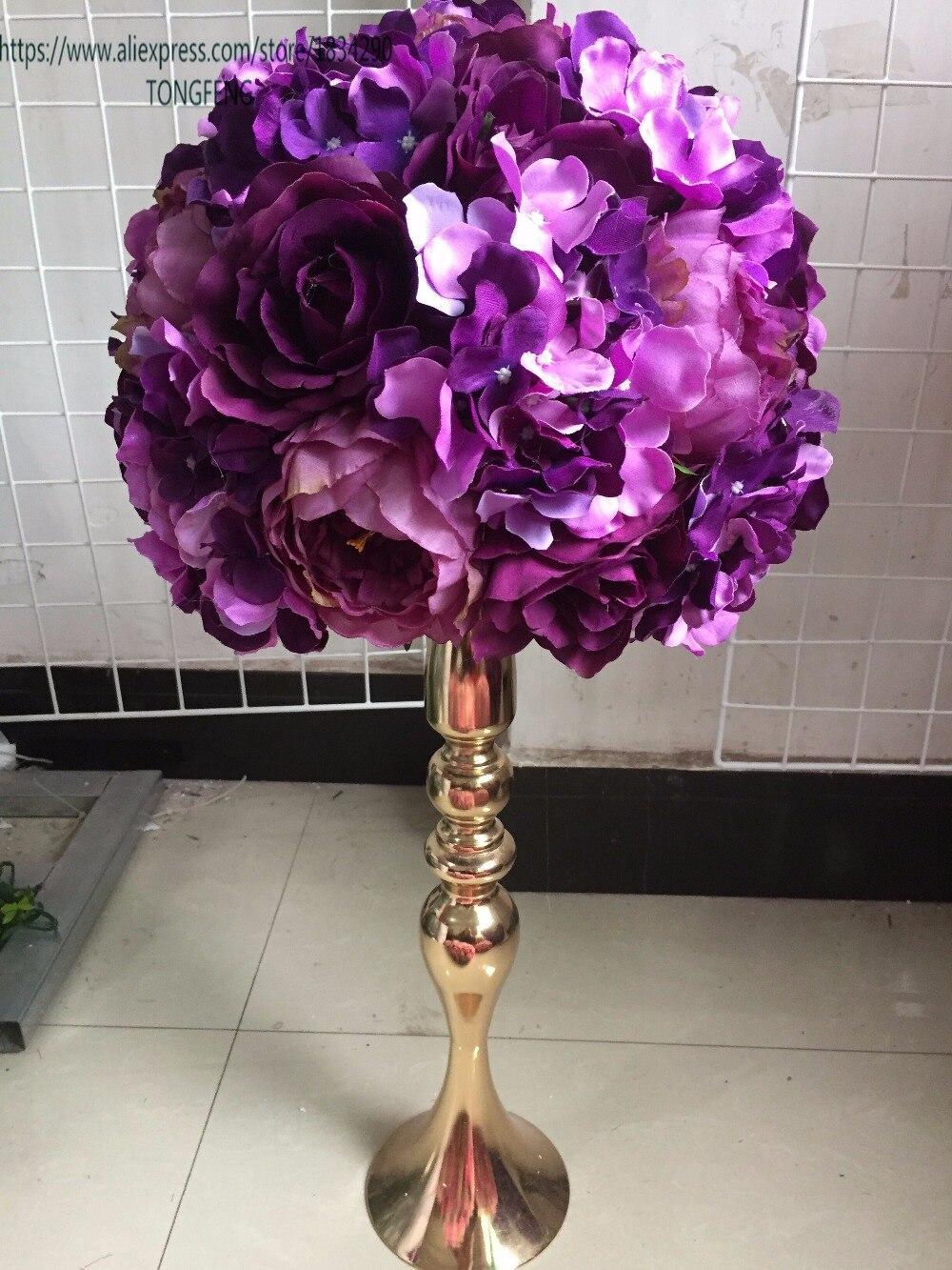Wedding road lead artificial rose peony flower ball wedding table centerpiece flower ball 30cm purple 10pcs
