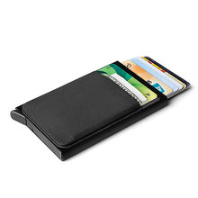 Slim Men Aluminum Wallet With Back Pouch ID Card Holder RFID Protection Mini Metal Automatic Pop up Credit Card Case Coin Purse(China)