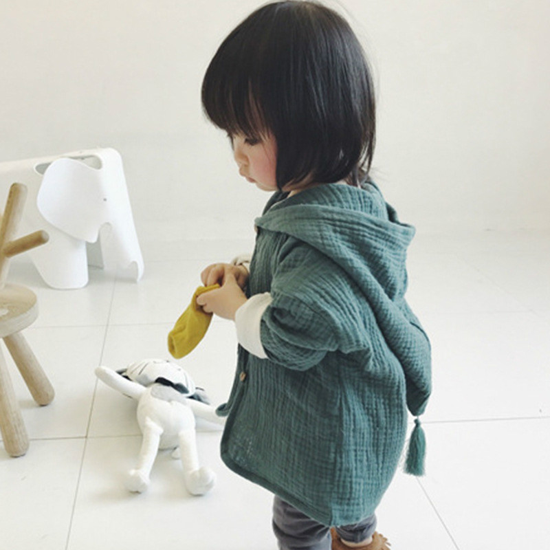 Children coat Autumn Candy Colored Cotton Hooded Cardigan Coat Cardigan Casual Outerwear Kids Girls coat Jacket Kids Clothed