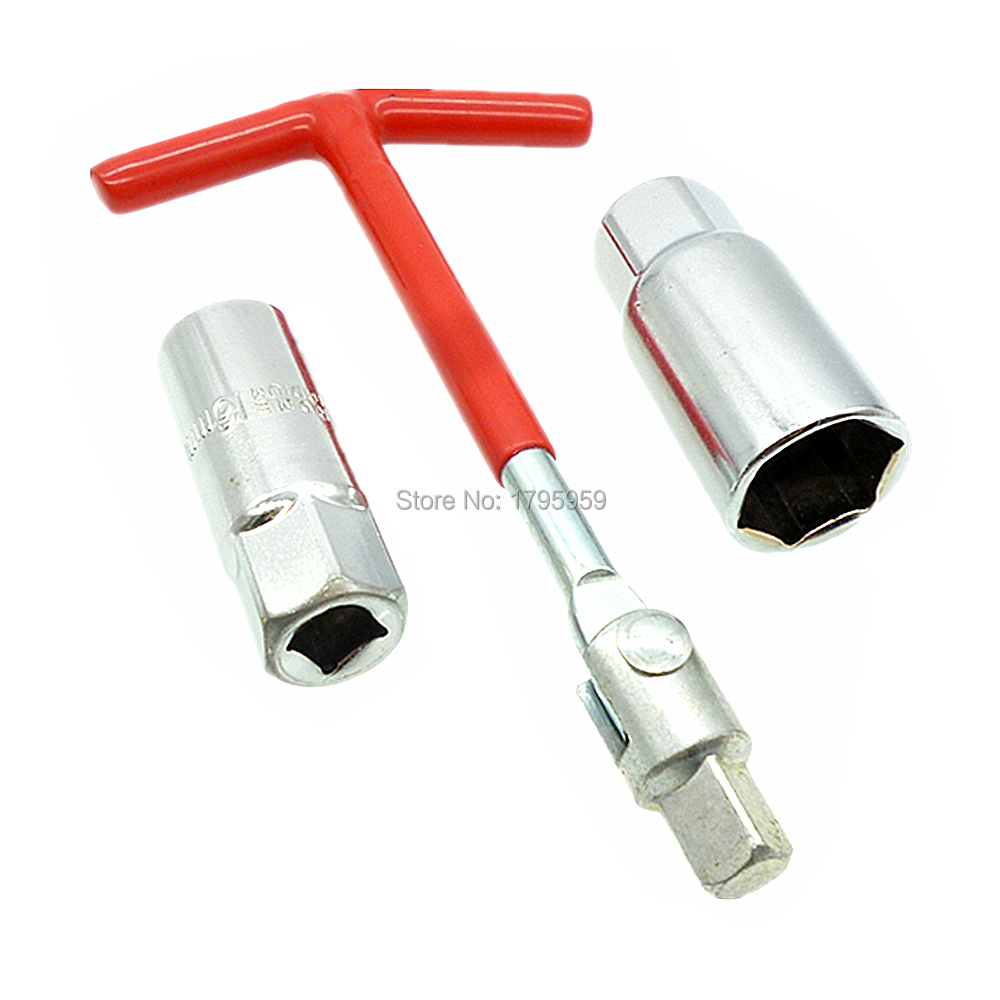 Spark Plug Removal Tool Socket 16mm & 21mm T-bar T-Handle Flexible Spanner Socket Wrench Set With 3/8