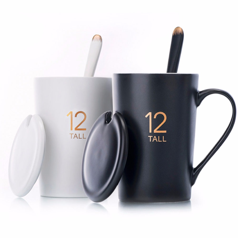 Handmade Ceramic cup Coffee Mugs Tea Cup Drinkware - 12Oz Pattern Mugs Lid and Spoon Creative Dairy Gift Box