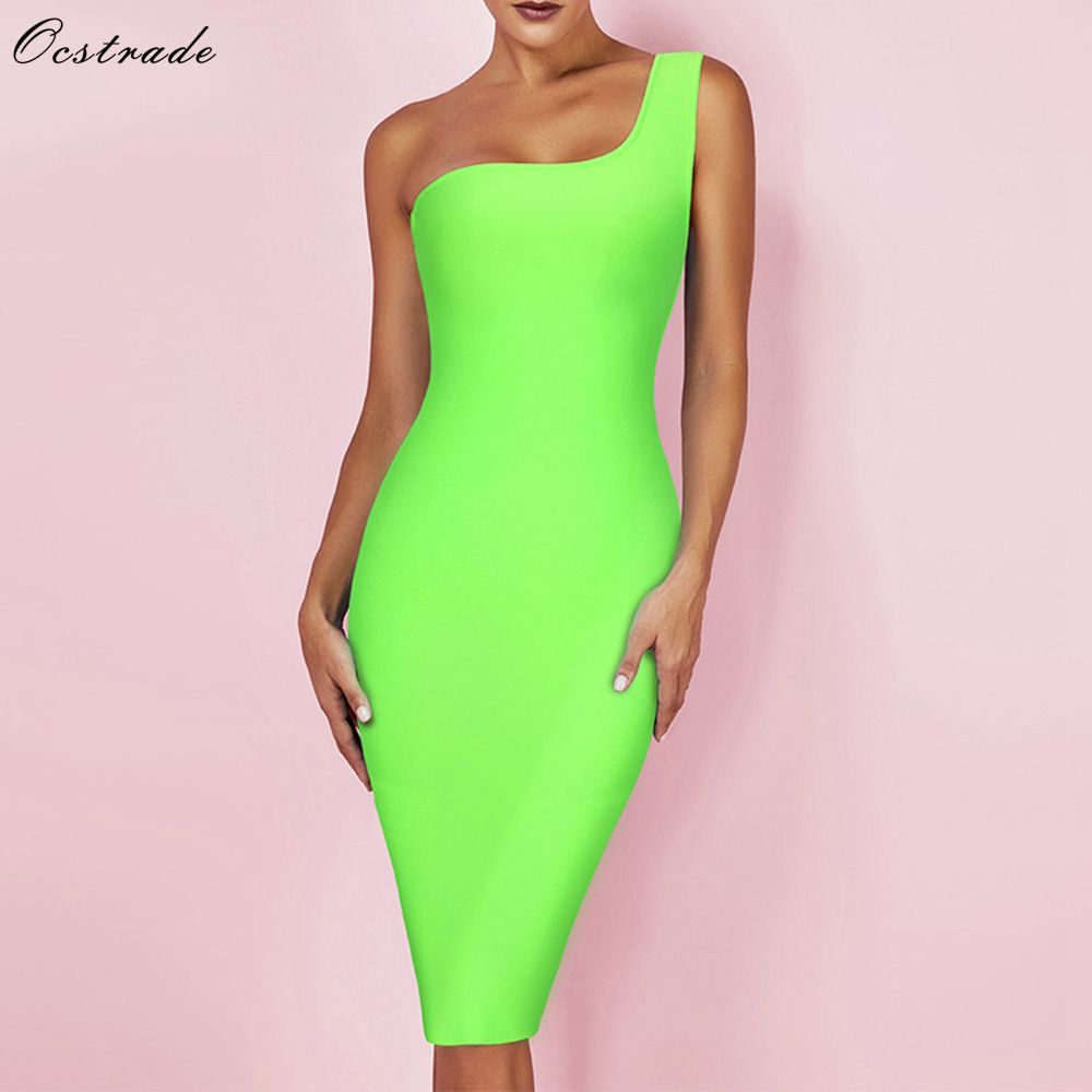 Ocstrade New Arrival Neon Green Bandage Dress 2019 Summer Sexy One Shoulder Bandage Dress Bodycon Mini