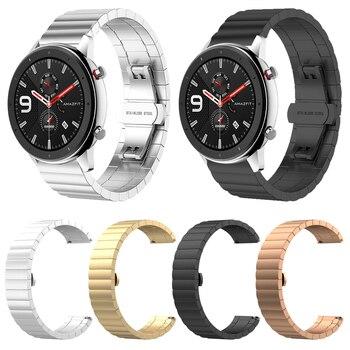 Correa de acero inoxidable de Metal para Xiaomi Huami Amazfit GTR 47mm 42mm correa de pulsera para Amazfit Bip/ pace/Stratos correa de reloj