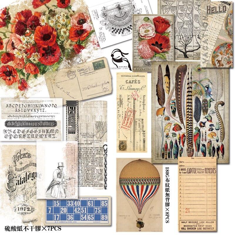 YPP ARTISANAT 50 pcs Vieux Journal Page Vintage Autocollants pour Scrapbooking Heureux Planificateur/Fabrication De Cartes/Journalisation Projet