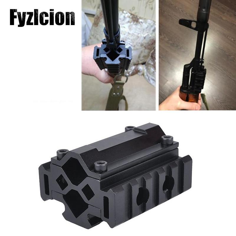 Fyzlcion Tactical Triple Side Tri-Rail Barrel Mount- 5 Slots 21mm Picatinny and Weaver Rails Attach Laser Grip Flashlight Bipod
