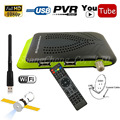 Reino unido Combo Vídeo HD DVB-S2 Receptor de Satélite Digital + Youtube Set Top Box PVR USB Wifi Cccam Apoio Gscam Vu Poder