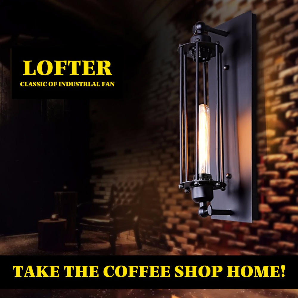 Loft American Village Industrial Iron Wall Lamp Edison Bulb Retro Wall Light Bar Cafe Restaurant Aisle Lights EMS Free Shipping vintage edison chandelier rusty lampshade american industrial retro iron pendant lights cafe bar clothing store ceiling lamp