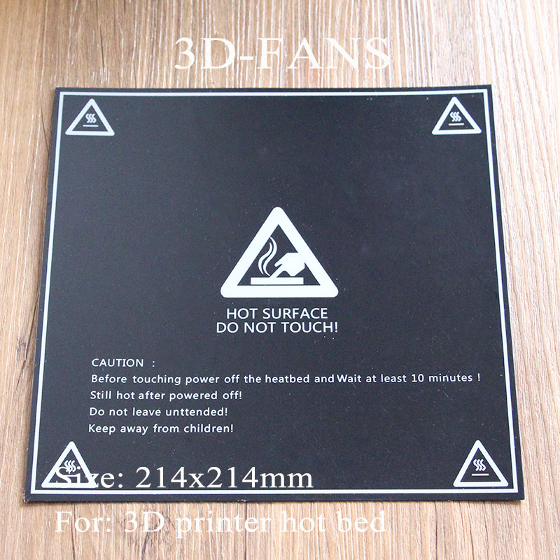 1pcs 3D Printer Heater Bed Sticker With 3M Tape Black 214mm 214mm Hot Bed Sticker Build
