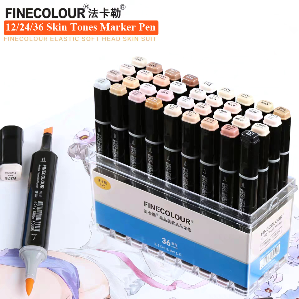 Finecolour 12 24 36 Colors Skin Tones Soft Brush Markers Alcohol Based Artist Double Headed Professional Sketch Marker Pen