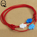 Red rope Braiding opal hamsa bracelet good fire fatima hand synthetic opal bracelet adjustable