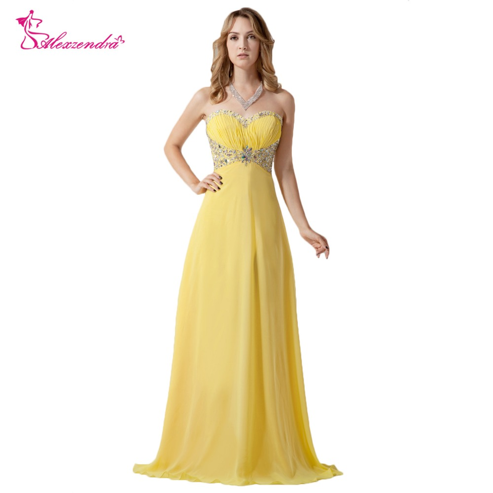 US $109.48 8% OFF|Alexzendra Sweetheart Beaded Long Yellow Prom Dresses  Plus Size Beaded Bodice Long Evening Gowns Party Dress Customize-in Prom ...