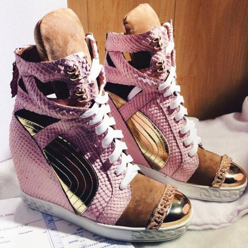 Ayakk.'ten Vulkanize Kadın Ayakkabıları'de Patchwork Yükseklik Increasining Kadınlar rahat ayakkabılar Takozlar Sneakers Hakiki Deri Metal Ayak Pembe Dantel platform ayakkabılar Kadınlar'da  Grup 1