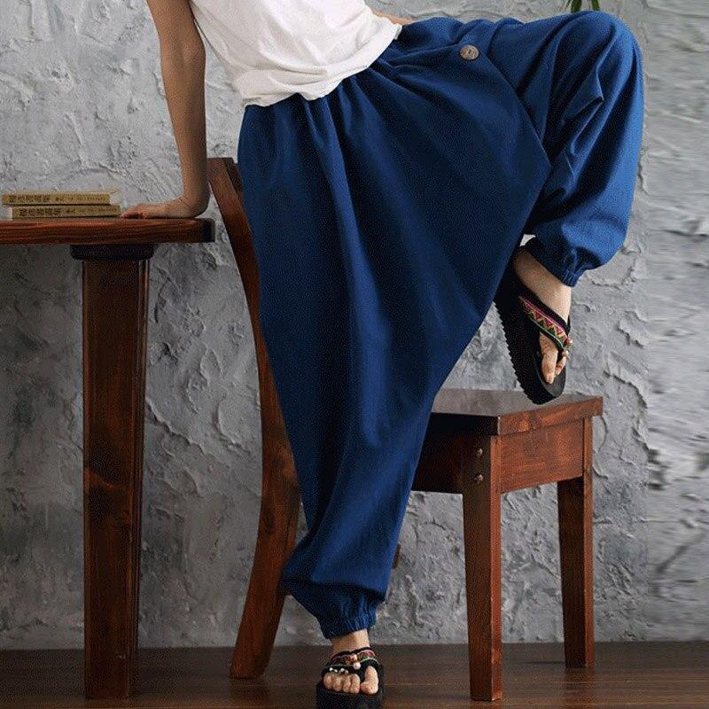 11895836e1f6 ... 2018 Summer ZANZEA Women Cotton Linen Elastic High Waist Solid Harem  Cross Pants Loose Drop Crotch Trousers Oversized Pantalon