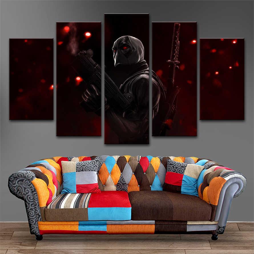 Rumah Dinding Dekoratif Gambar Modular Kerangka Untuk Ruang Tamu 5 Pieces Film Deadpool Poster Kanvas Art HD Dicetak Lukisan