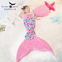 Mermaid tail sleeping bag tail blanket flannel sofa blanket air conditioning blanket napping blanket children kick proof quilt