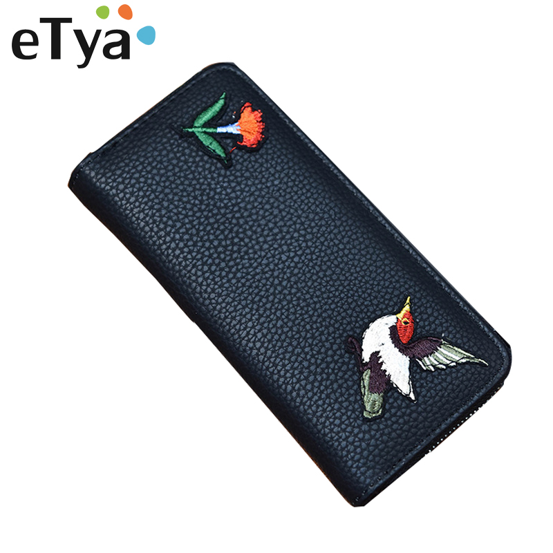 eTya Fashion PU Leather wallet Women Vintage Long Purse Flower Female Large capacity Zipper Wallets Money Clips Cards Purse