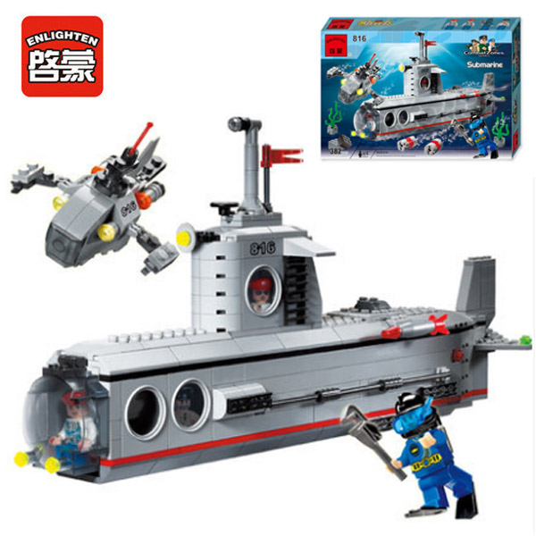 Enlighten 816 Combat Zones Modern Military Bathyscaphe Torpedo Frogman SWAT Model Bricks Building Block Toys For Gift enlighten 1406 8 in 1 combat zones military army cars aircraft carrier weapon building blocks toys for children