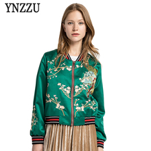 Women Embroidery dragon Bomber Jacket Ladies Jackets Fashion Green Zipper Bombers Pilot Outerwear Short Coat