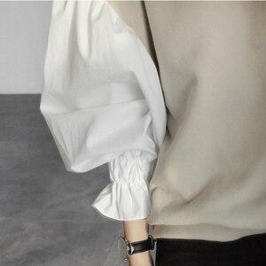 Image 5 - CHICEVER 2020 Molla Femminile Felpa Per Le Donne Del Manicotto Superiore Della Lanterna Pullover Allentato Più Il Formato Oversizes Felpe Magliette e camicette Vestiti