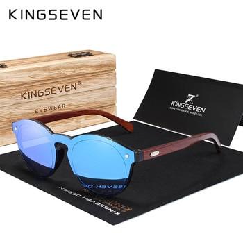 KINGSEVEN DESIGN 2018 Natural Handmade Wood Sunglasses Men Sun Glasses Women Brand Design Original Rosewood Glasses Oculo Men's Glasses