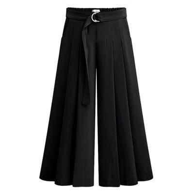 Новое поступление летние европейские Стильные повседневные свободные женские широкие брюки размера плюс женские брюки стрейч - Цвет: Black