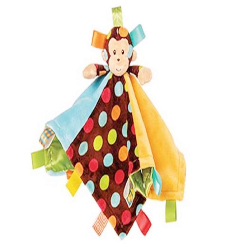 קריקטורה חמודה קוף בייבי בד שמיכה צעצוע מוקדם חינוך תינוק מותקנת רכה רכה בובה תינוק תינוקות שינה לינה רעשן