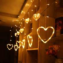Christmas light outdoor garden decoration 3m love Led Curtain Icicle String star fairy lights For Holiday Wedding Garland Party(China)