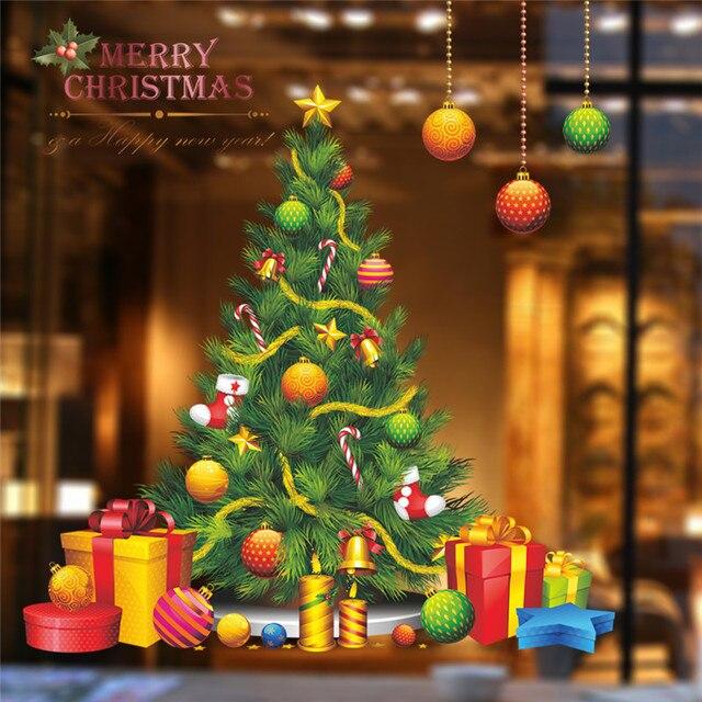 Arbre de noël décoration wall sticker stickers partie magasin vitrine nouvelle année cadeau décoration décoration de
