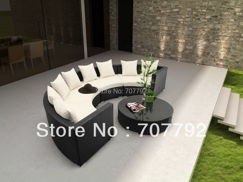 New Year Outdoor Furniture Round Style Black Rattan Sofa Garden Set