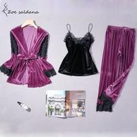 Zoe Saldana 2018 3PCS Sets Nightgowns Women Winter Velvet Pajama Sets Lace Patchwork Deep V neck Sexy Sleepwear