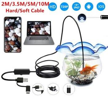 Endoscopio 3 en 1 USB Cable duro/suave 720P cámara de inspección por boroscopio para Android tipo-c PC impermeable Cámara serpiente 2/3. 5/5/10M