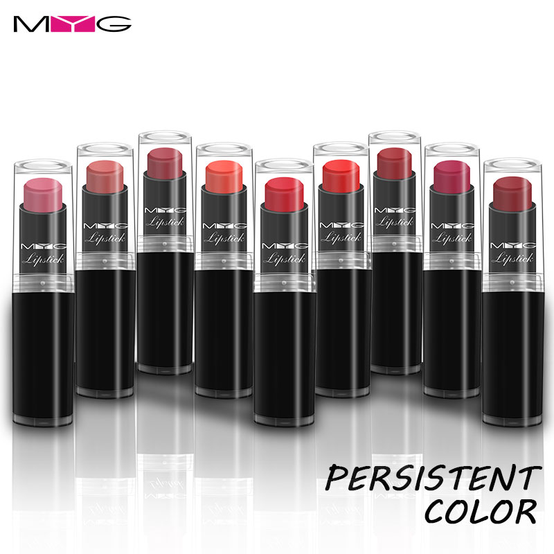 5pcs lot MYG Brand High Quality Matte Lipstick Makeup Long Lasting Moisturizing Smooth Nutritive Stage Lip Tint Free Shipping in Lipstick from Beauty Health