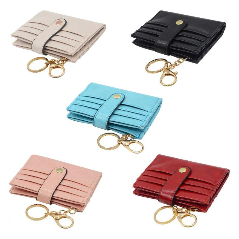 Women Solid Portable PU Leather Card Holder Bags Keychain RFID Change Bag Mini Casual Pure Color Card Holder for Girls 2018 Z95 felt z95 2014