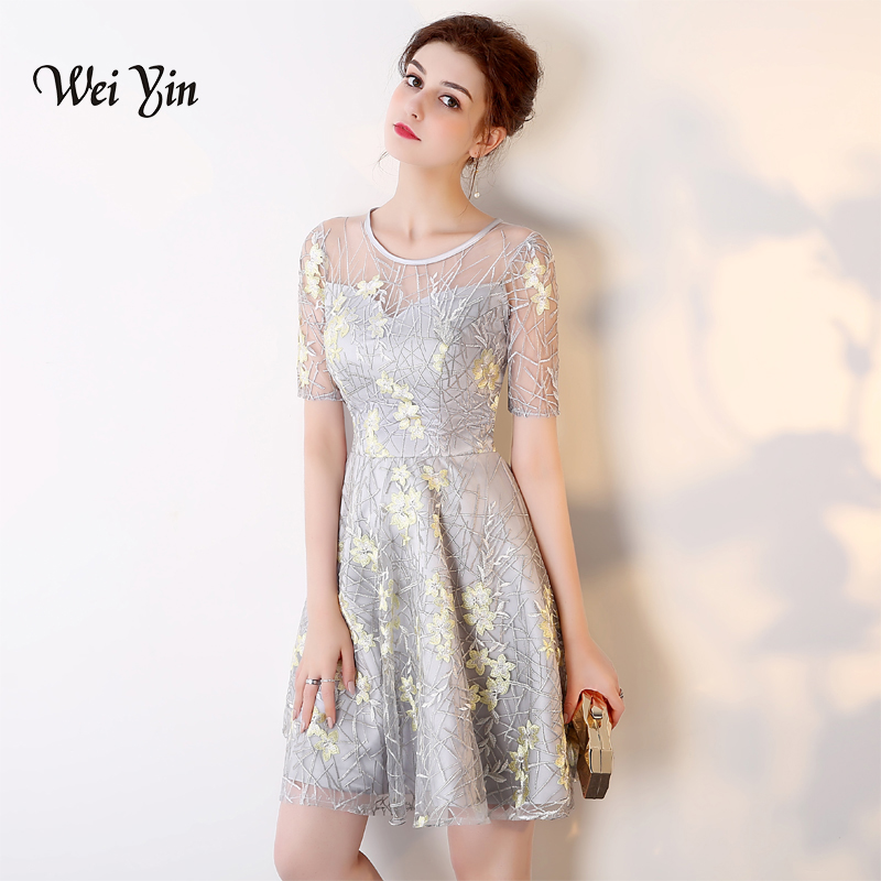 weiyin 2018 Short Sleeve Fashion Designer Lace Illusion Flowers Pattern Elegant   Cocktail   Gowns   Cocktail     Dress   WY853